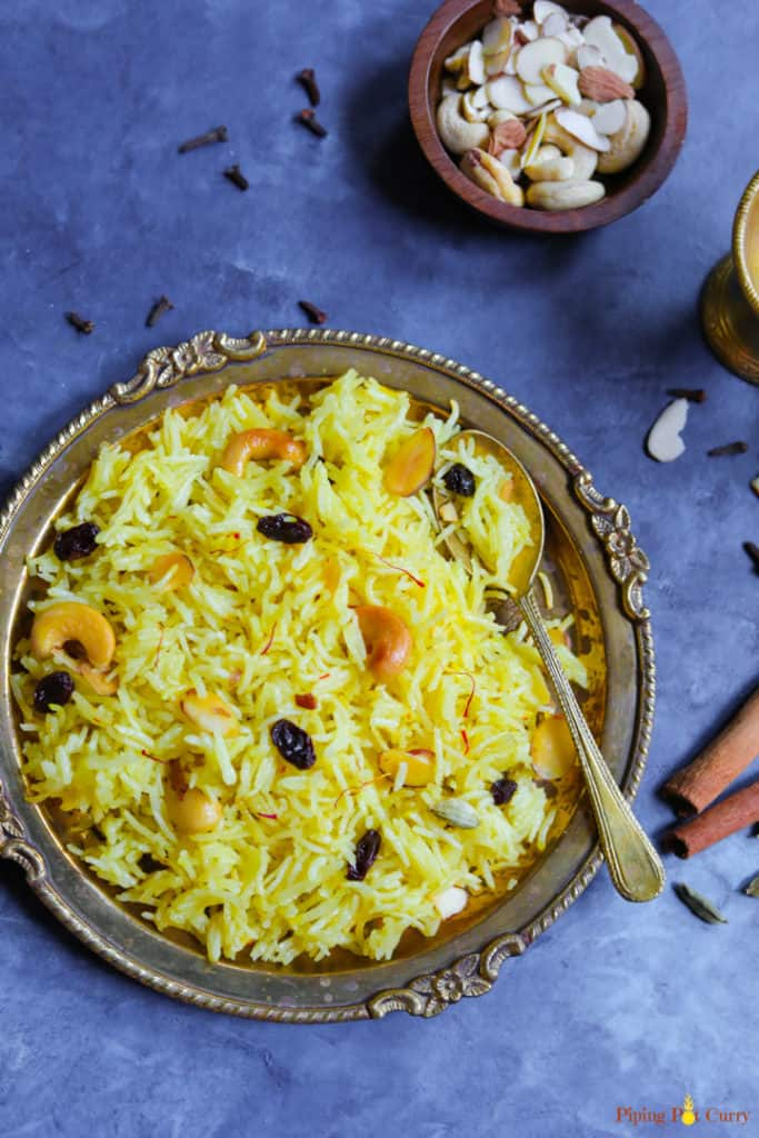 Zarda. Meethe Chawal - Instant Pot - Piping Pot Curry