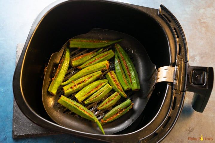 Stuffed Okra ready to be cooked in the air fryer