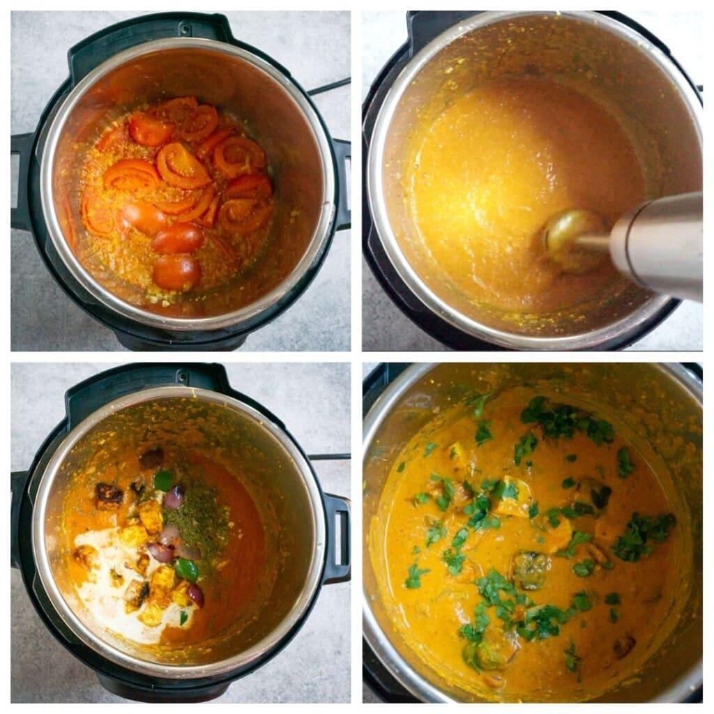 steps to make paneer tikka masala gravy in the instant pot