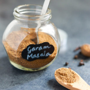 Garam Masala in a small glass jar