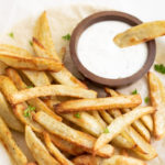 French Fries along with a yogurt dip
