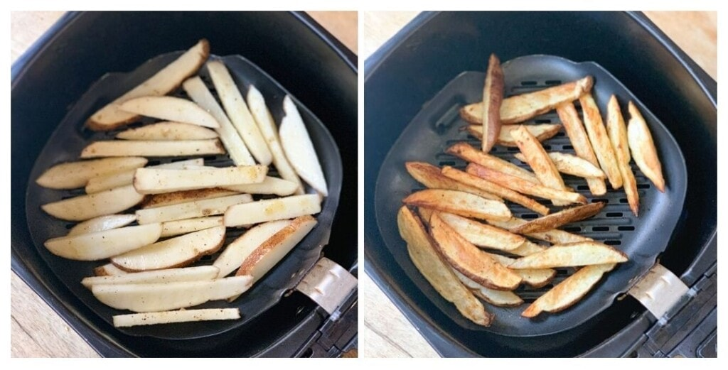 French fries being cooked in the air fryer
