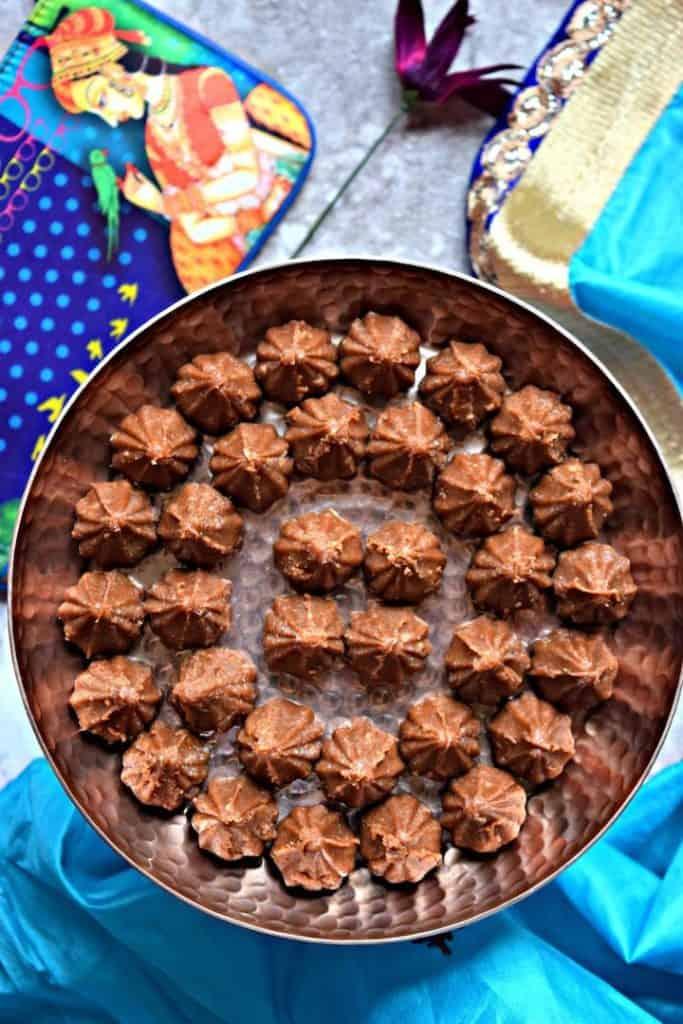Chocolate Modak in a large plate