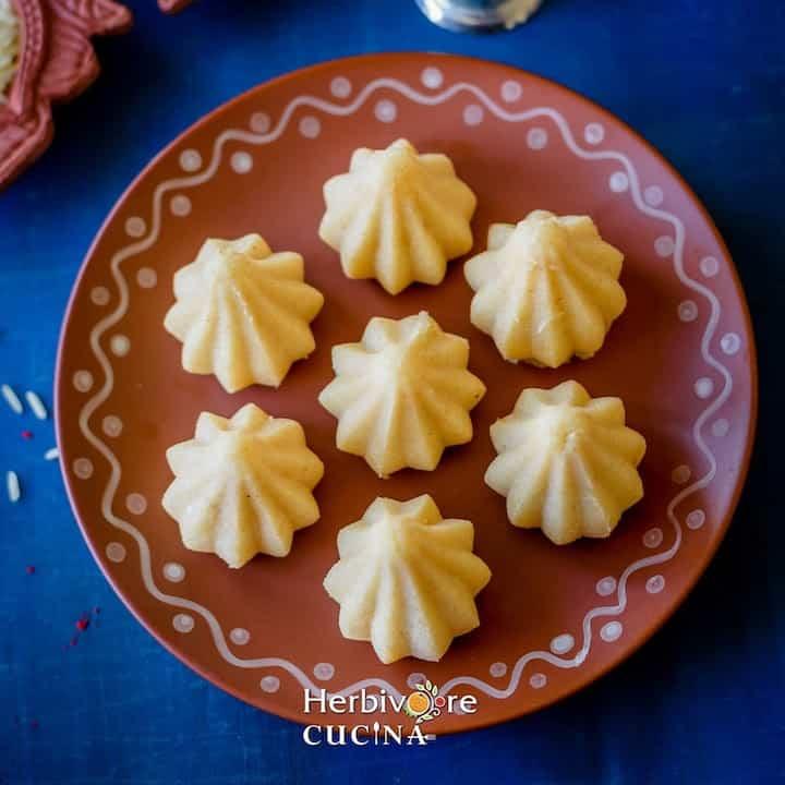 Rava Modak sweet in a decorative plate