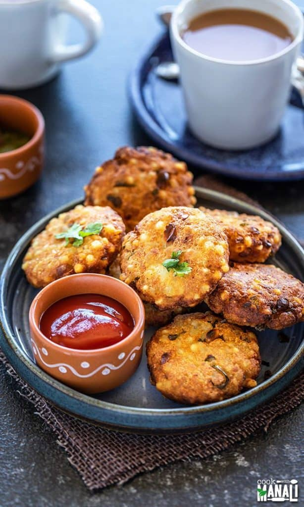 Sabudana Vada with ketchup in a plate