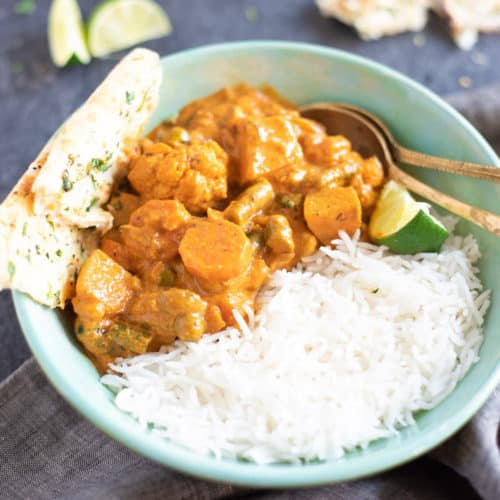 Vegetable Curry with Basmati Rice and Naan