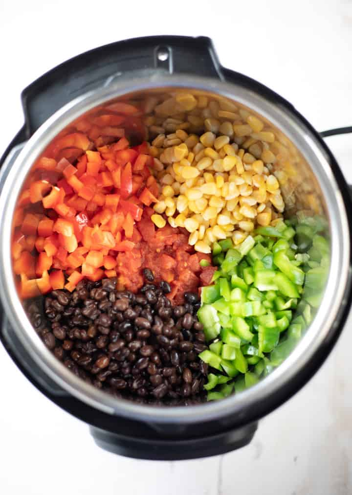 Black Beans, Bell Peppers, Corn and Tomatoes to make soup in the instant pot