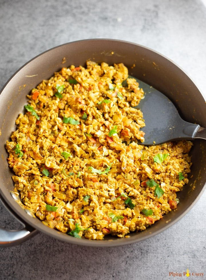 Spicy Scrambled eggs in a pan