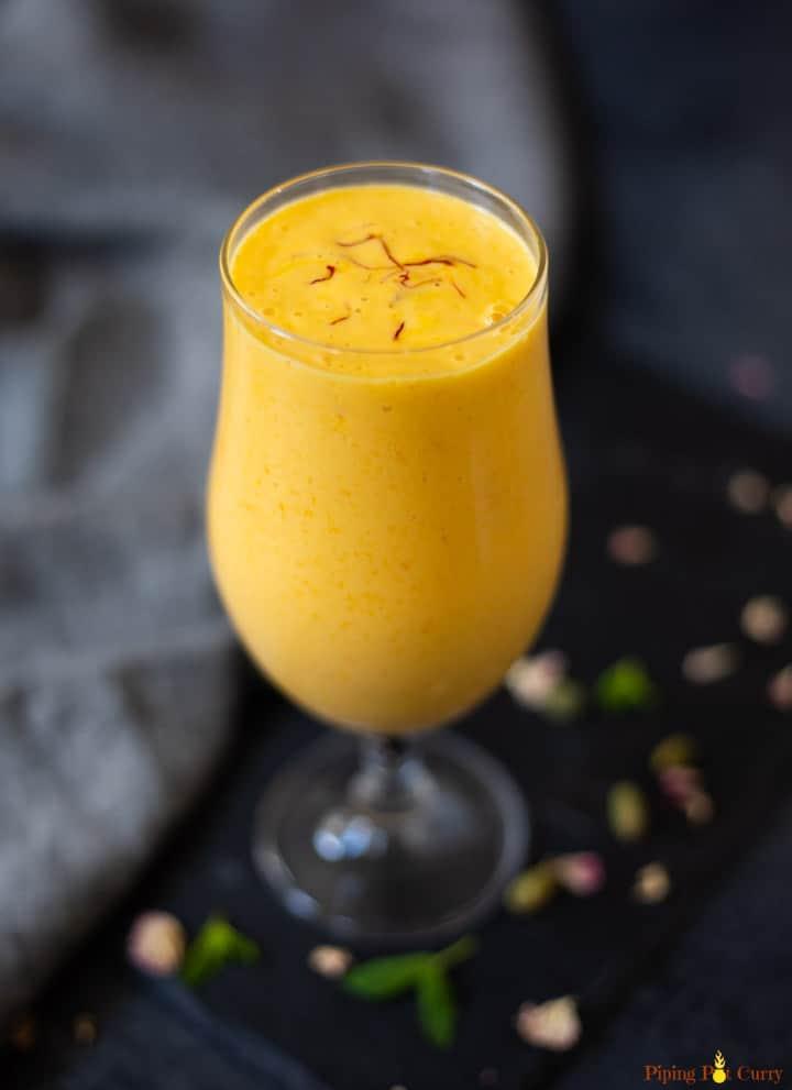 Mango Lassi in a tall glass