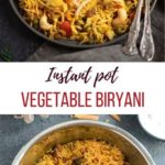 Vegetable Biryani Rice garnished with mint leaves and in the pot