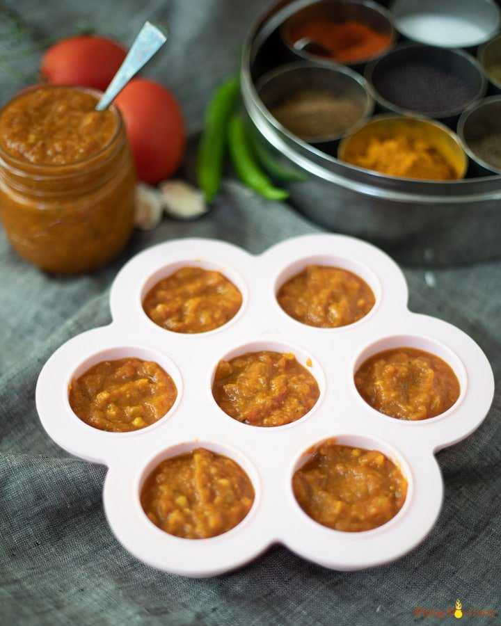 indian Onion tomato paste in silicone molds for storage