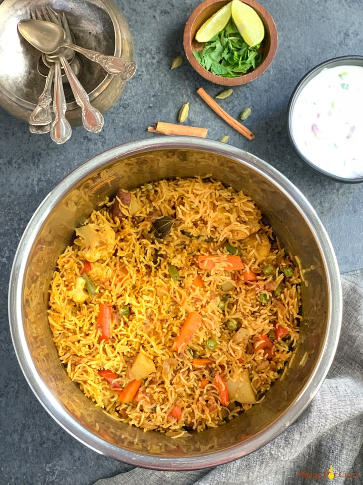 Vegetable Biryani in the instant pot liner