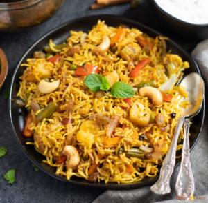 Vegetable Biryani rice closeup