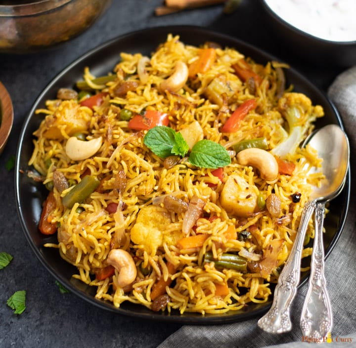 Vegetable Biryani rice closeup