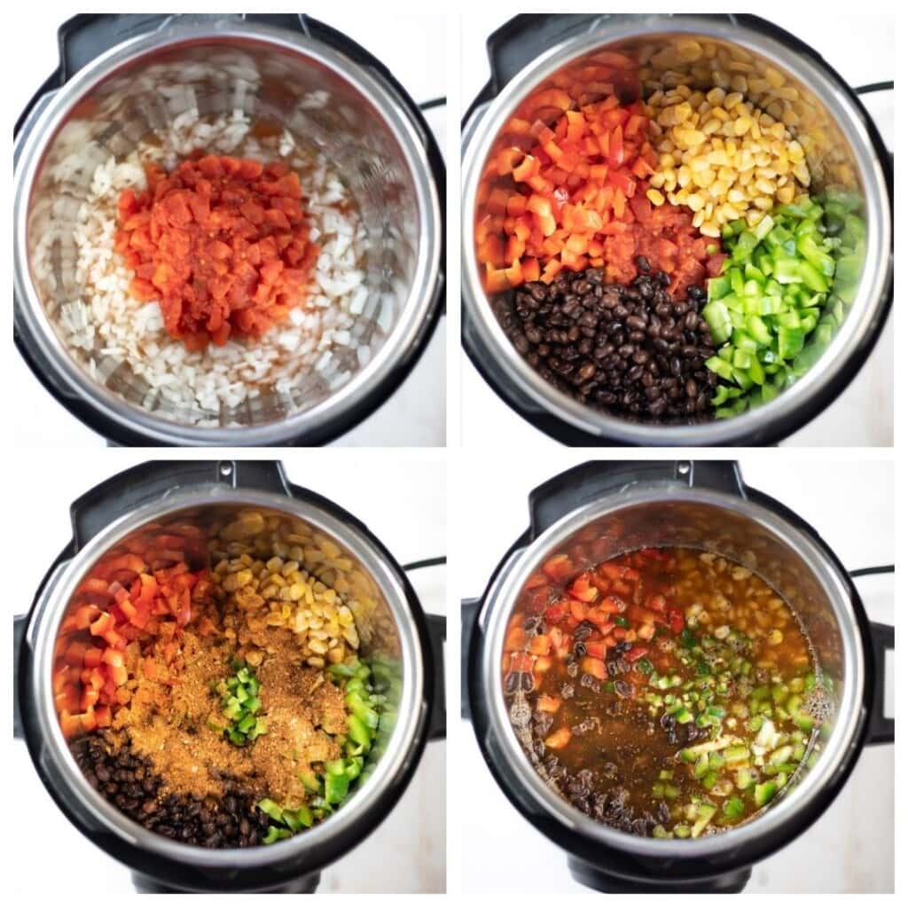 Steps to make vegetarian taco soup in the instant pot