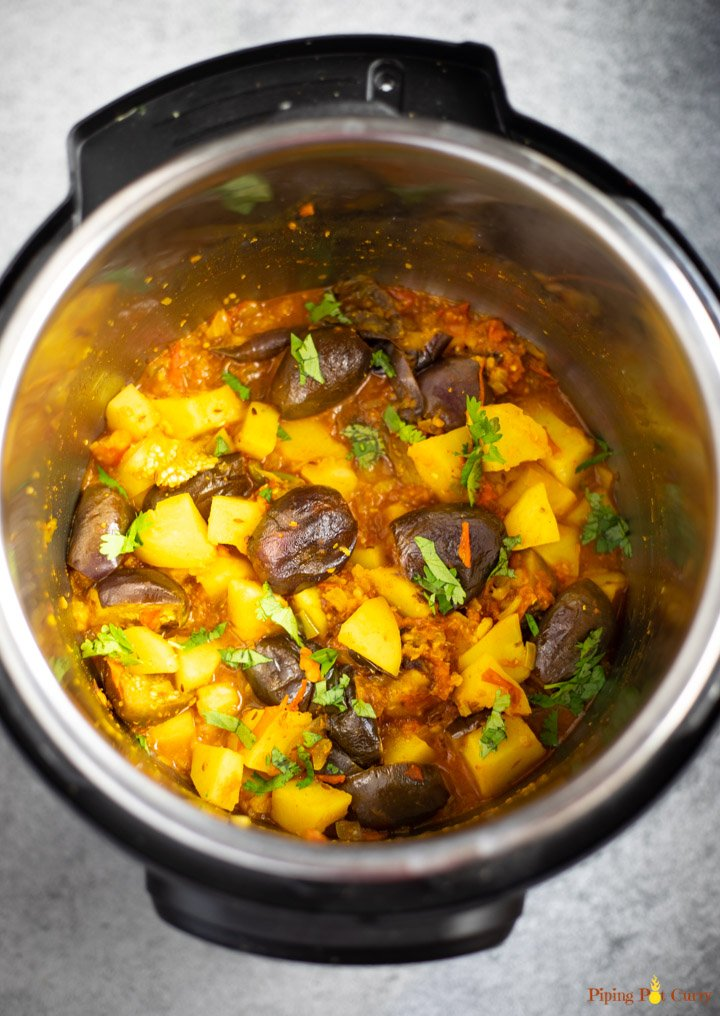 Eggplant and potato curry cooked in pressure cooker