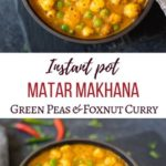 Green Peas and Foxnuts curry (Matar Makhana) in a bowl with 2 spoons