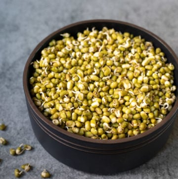 Sprouted mung bean lentils in a black bowl