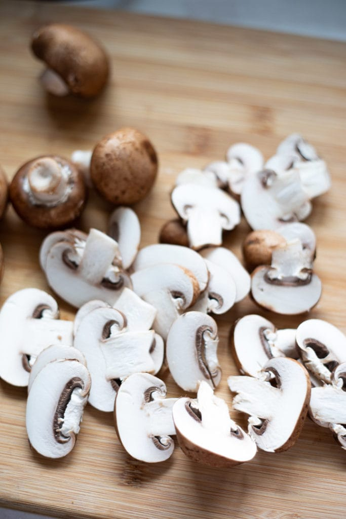 Cremini Mushrooms - some sliced and some whole