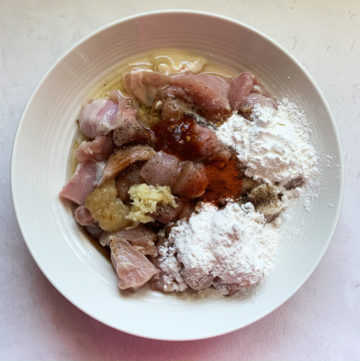 Ingredients to marinate chicken in a bowl