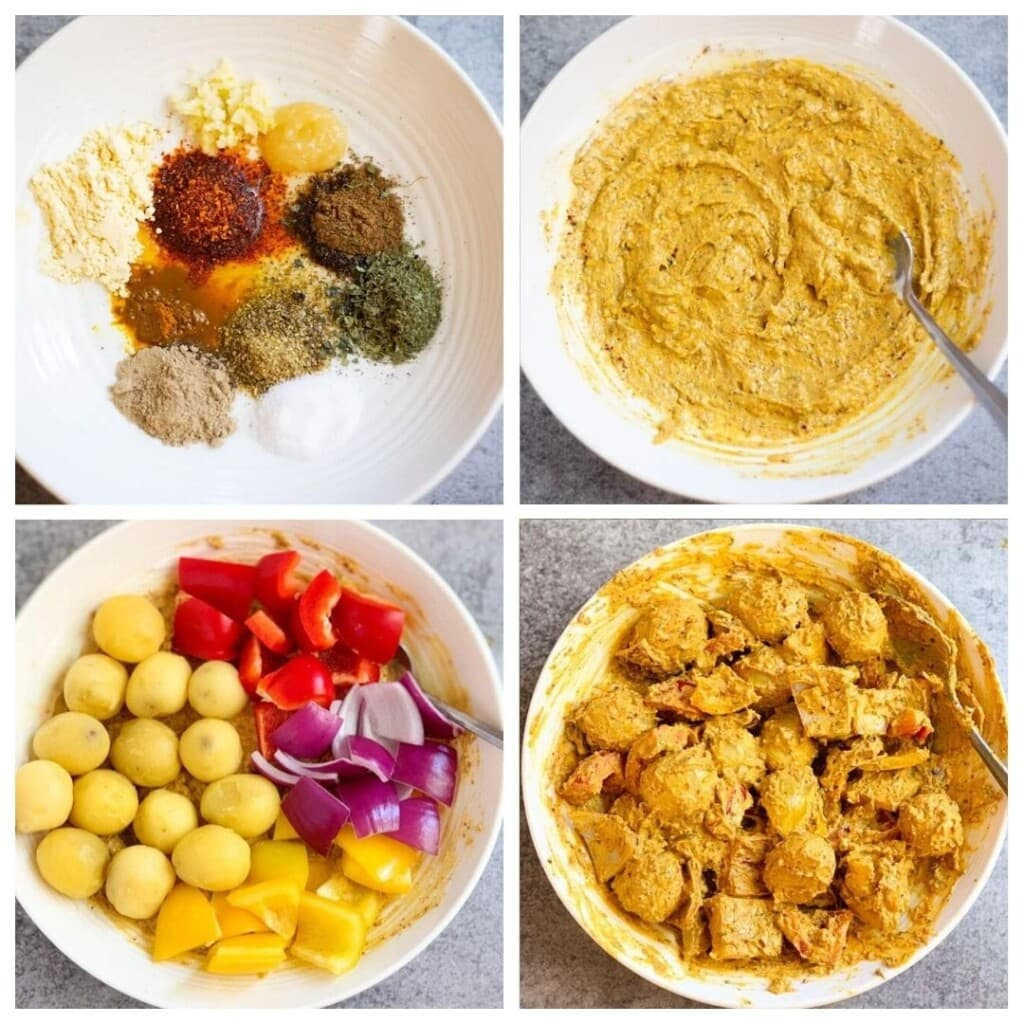 Steps to make aloo tikka in a bowl with lots of spices, yogurt and baby potatoes