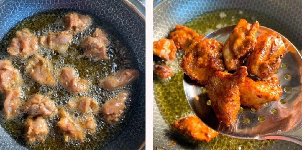 Frying chilli chicken