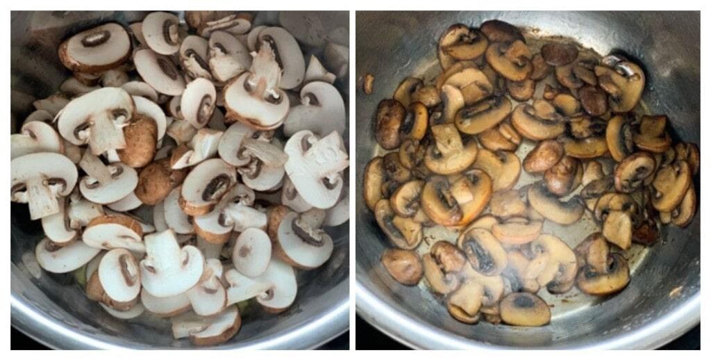 Sautéed mushrooms in the instant pot steel insert