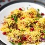 Sev Puri in a white plate which is an indian street food