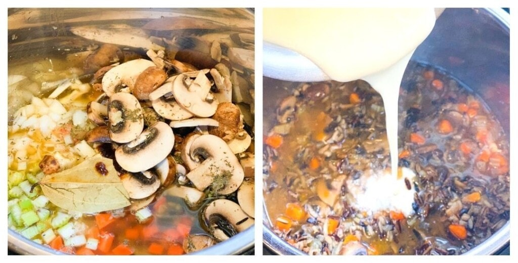 Steps to make mushroom wild rice soup in instant pot