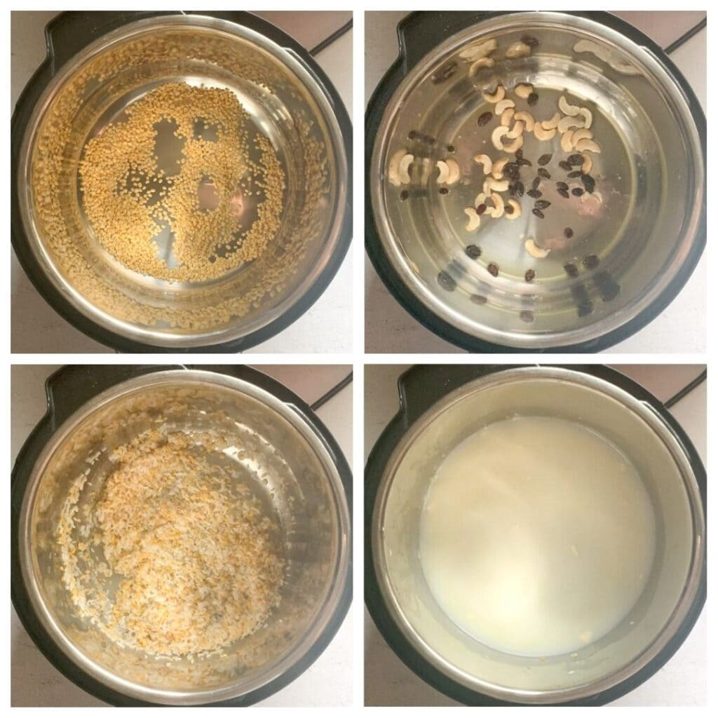 Steps to make sweet pongal in the pressure cooker