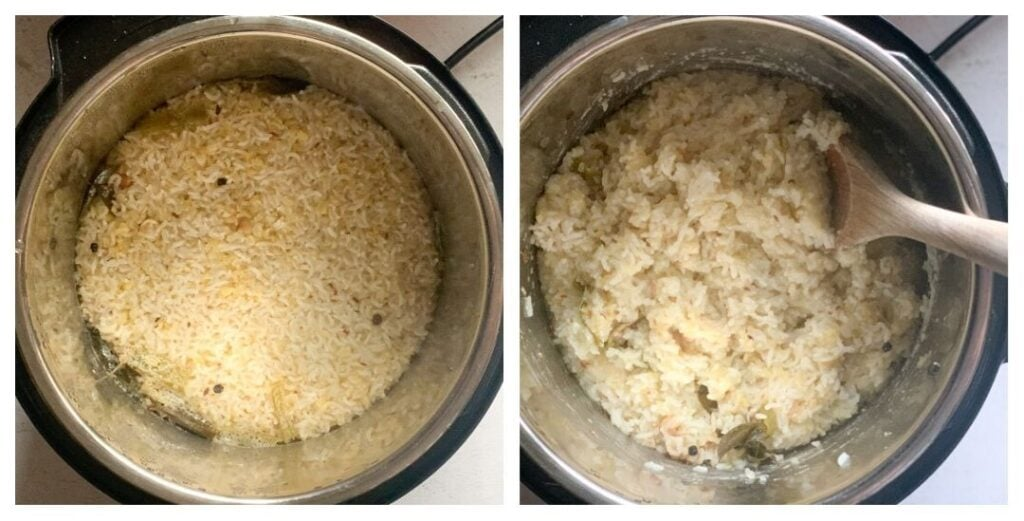 Ven Pongal made with rice and moong dal ready in instant pot