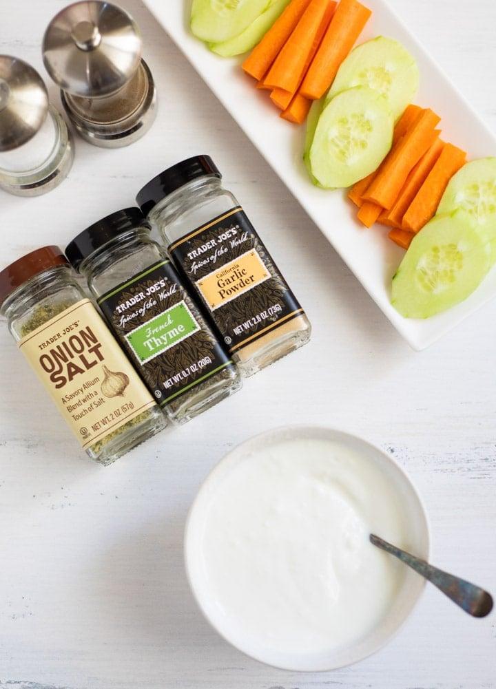 Ingredients for a basic yogurt dip