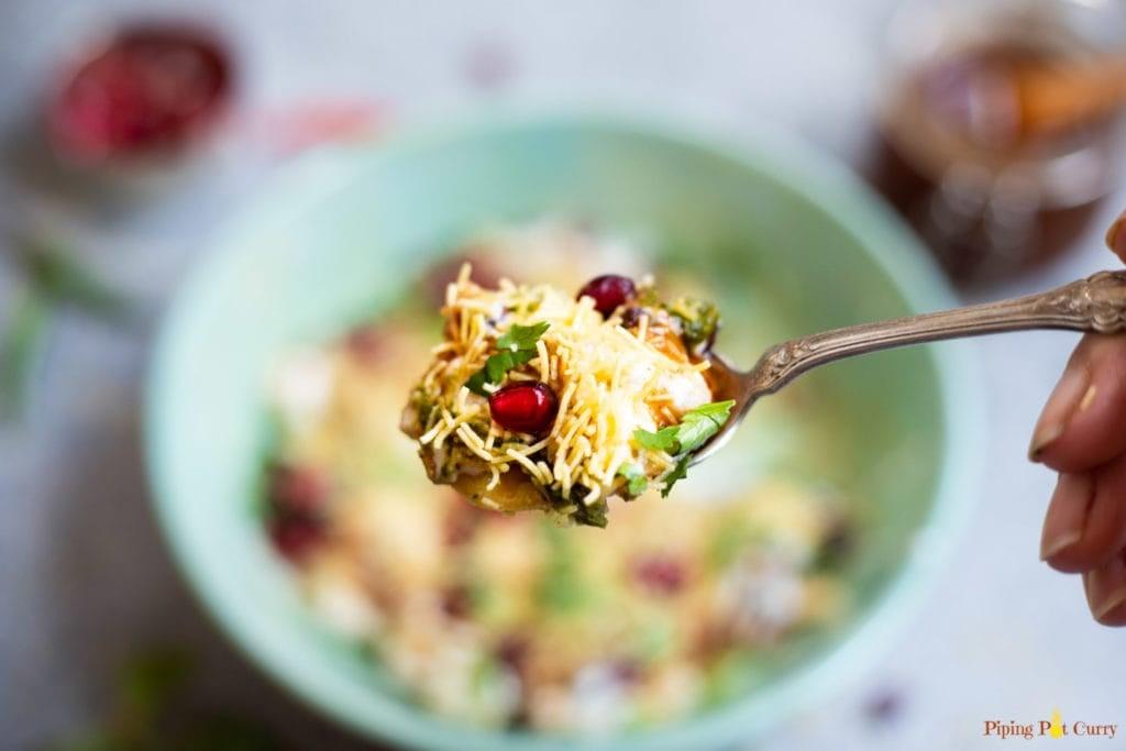 spoonful of dahi papdi chaat