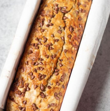 Banana Chocolate Chip Bread in a loaf pan