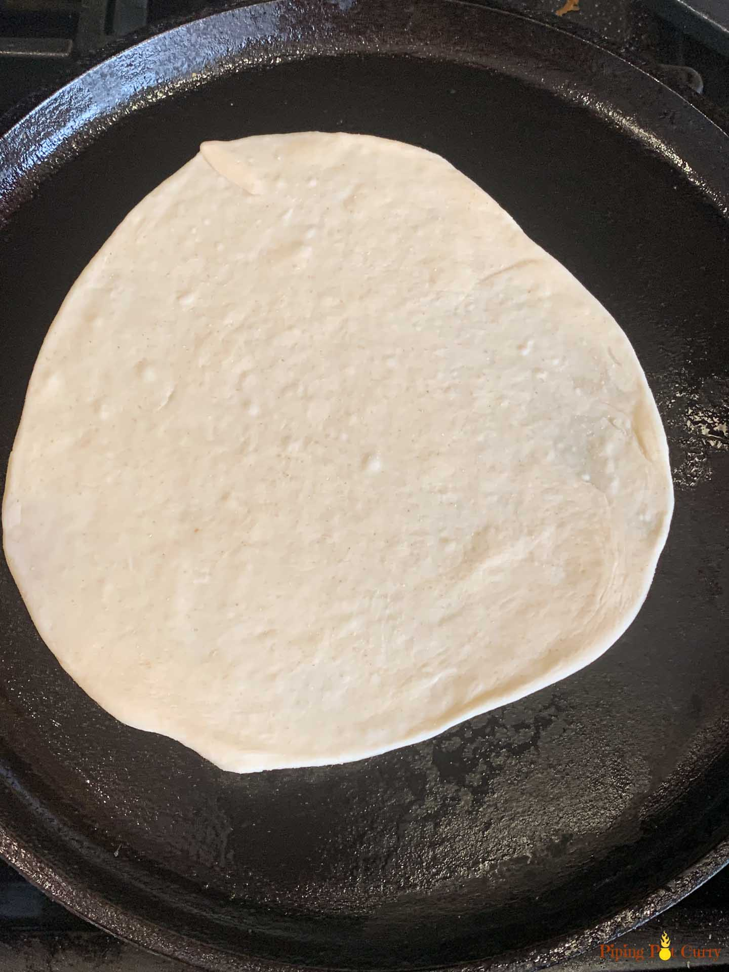 Rolled Flatbread on a cast iron pan
