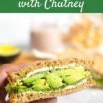 Avocado Sandwich with chutney in hand