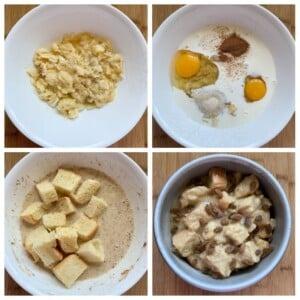 steps to make banana bread pudding with brioche, eggs, cinnamon and cream