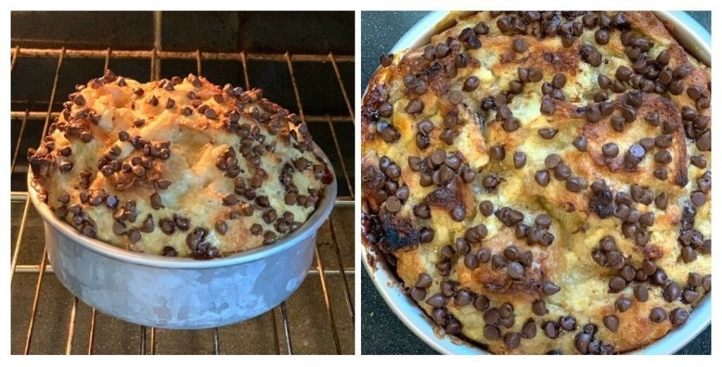 Banana Bread pudding topped with lots of chocolate chips in the oven