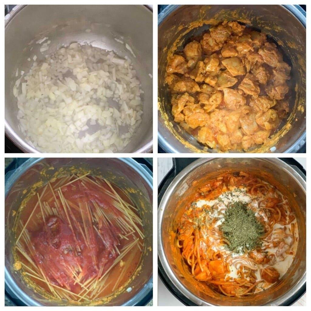 Steps to make chicken tikka masala pasta in the instant pot
