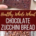 Healthy Whole Wheat Chocolate Zucchini Bread close up shots