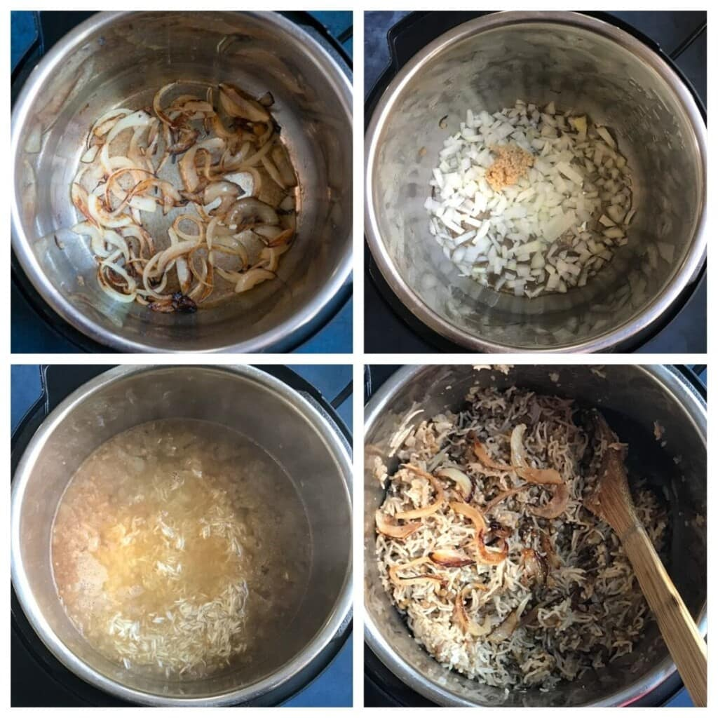 steps to cook Mujadara in the instant pot