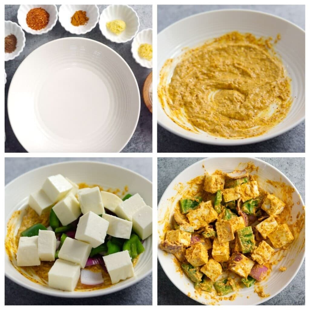 Steps to Marinate paneer with yogurt and spices