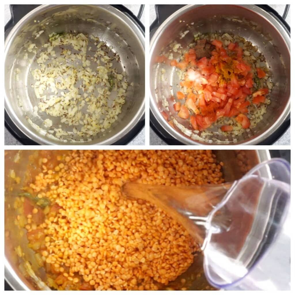Red lentils being cooked in the instant pot