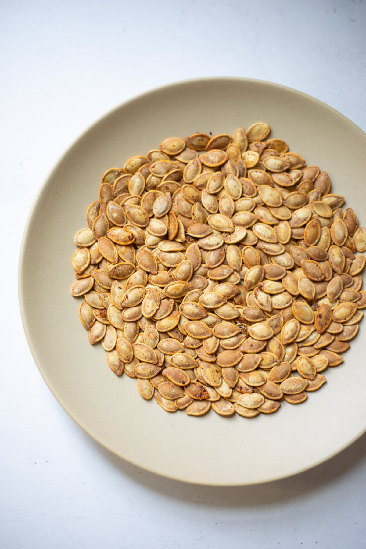 Roasted pumpkin seeds in a plate