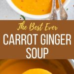 Best Carrot Ginger Soup in a ladle over the instant pot and in a bowl