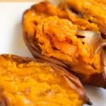 Creamy tender sweet potatoes being eaten with a fork