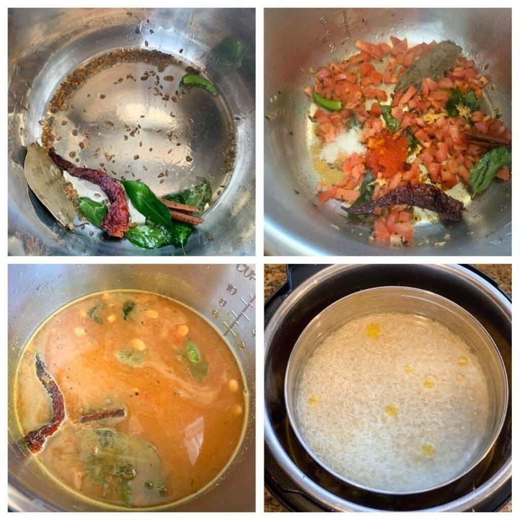 Gujarati Dal steps with pot-in-pot rice