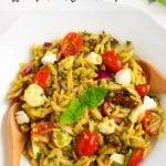 Pesto Orzo pasta salad in a white bowl