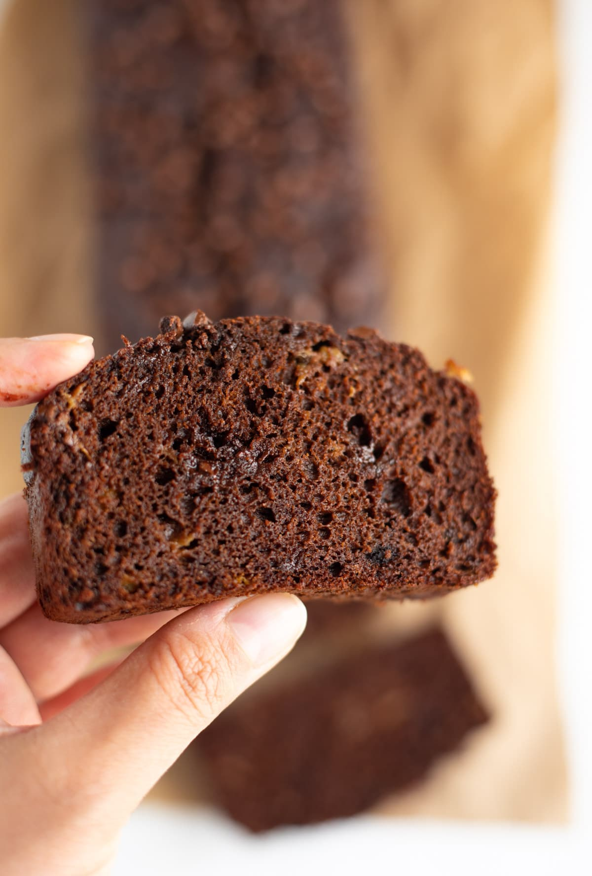 Close up of a slice of chocolate banana bread