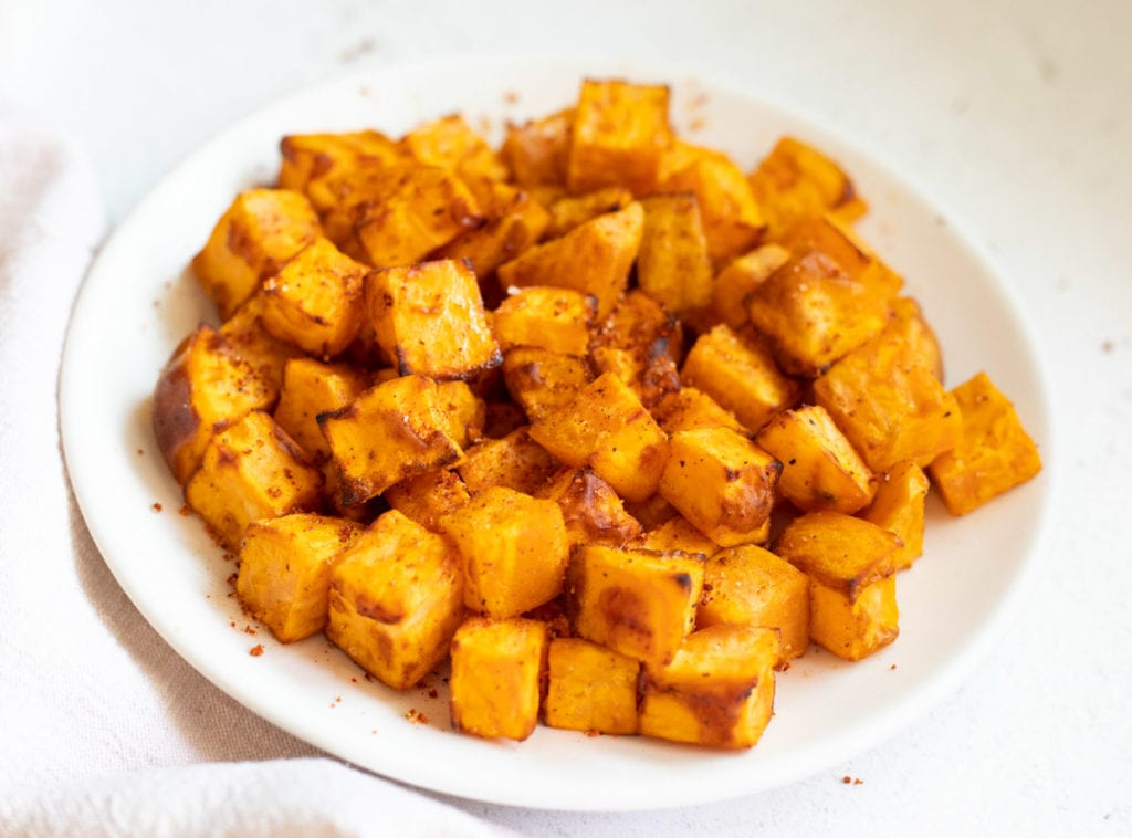 roasted Sweet potatoes cubes in a plate